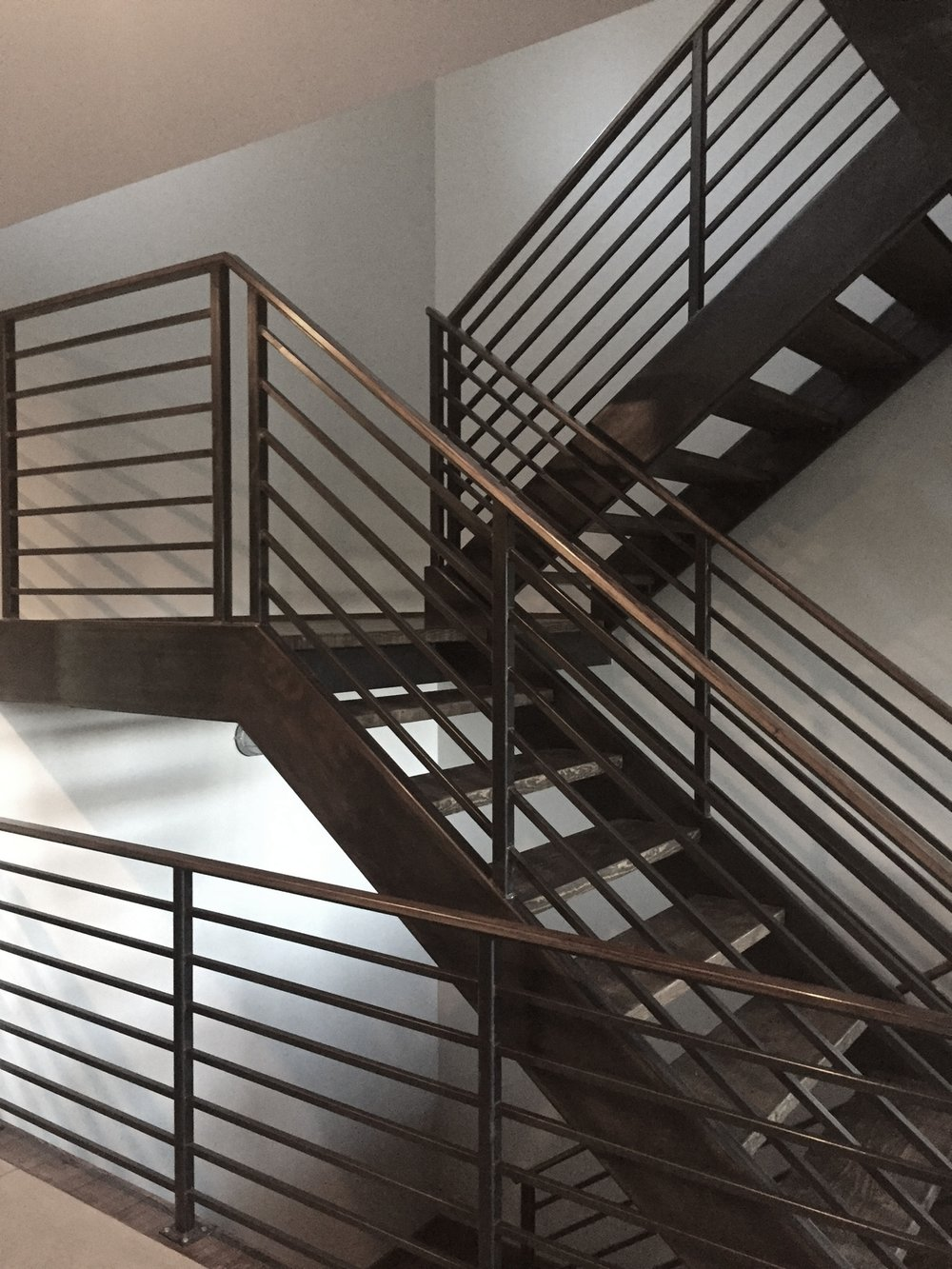Steel stairs, landing, guardrails and handrails