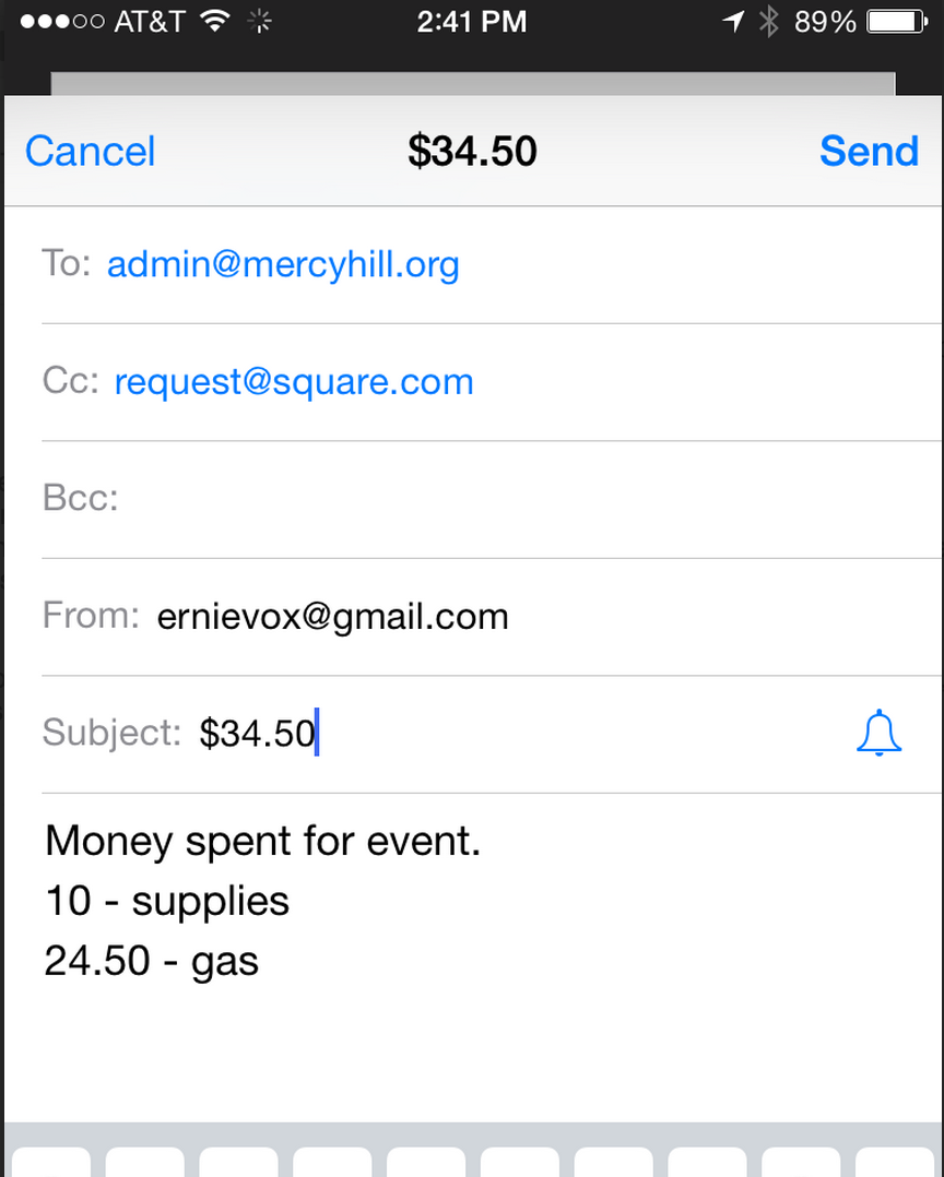 Screenshot Example of Email Reimbursement Request