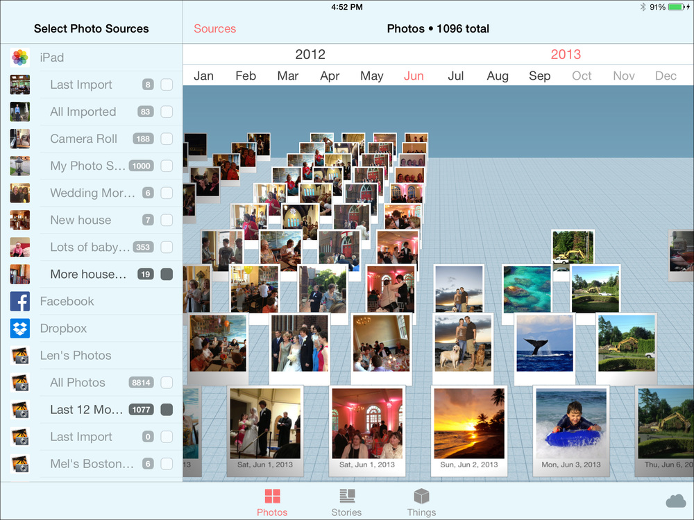All your are photos organized in 3D by time. Each column of photos is one day in your life. Scroll around or tap the heading to instantly scroll to any month or year to see what was happening then.