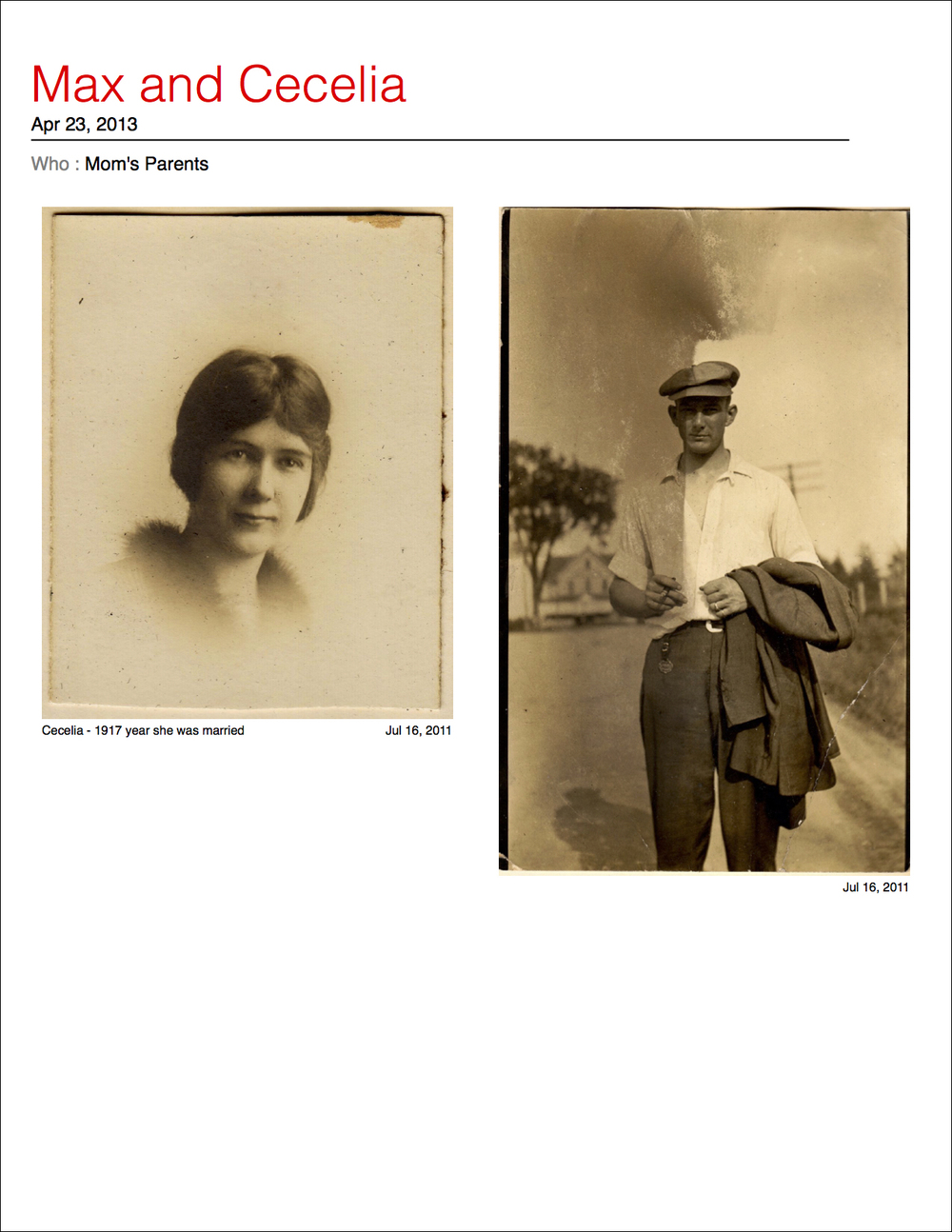A story about my grandparents using my Mom's scanned photos. Click to see the whole story.