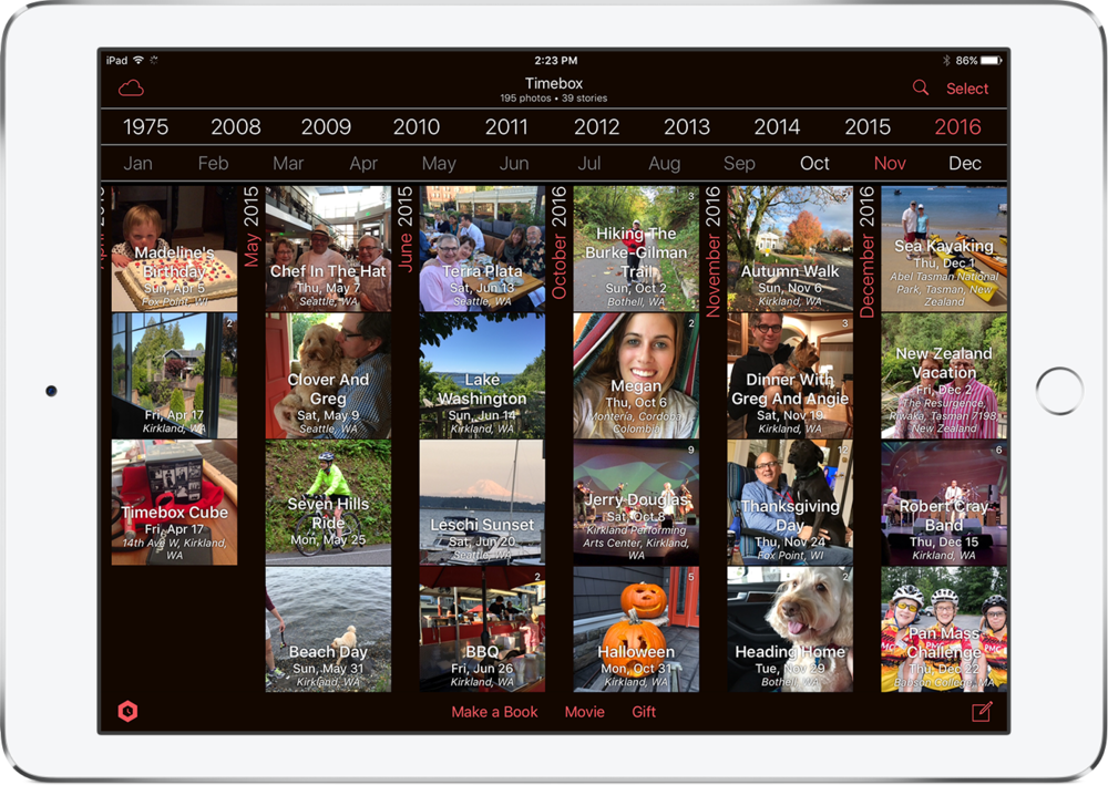The Timebox timeline makes it so easy to find your photos and stories in one or two taps.