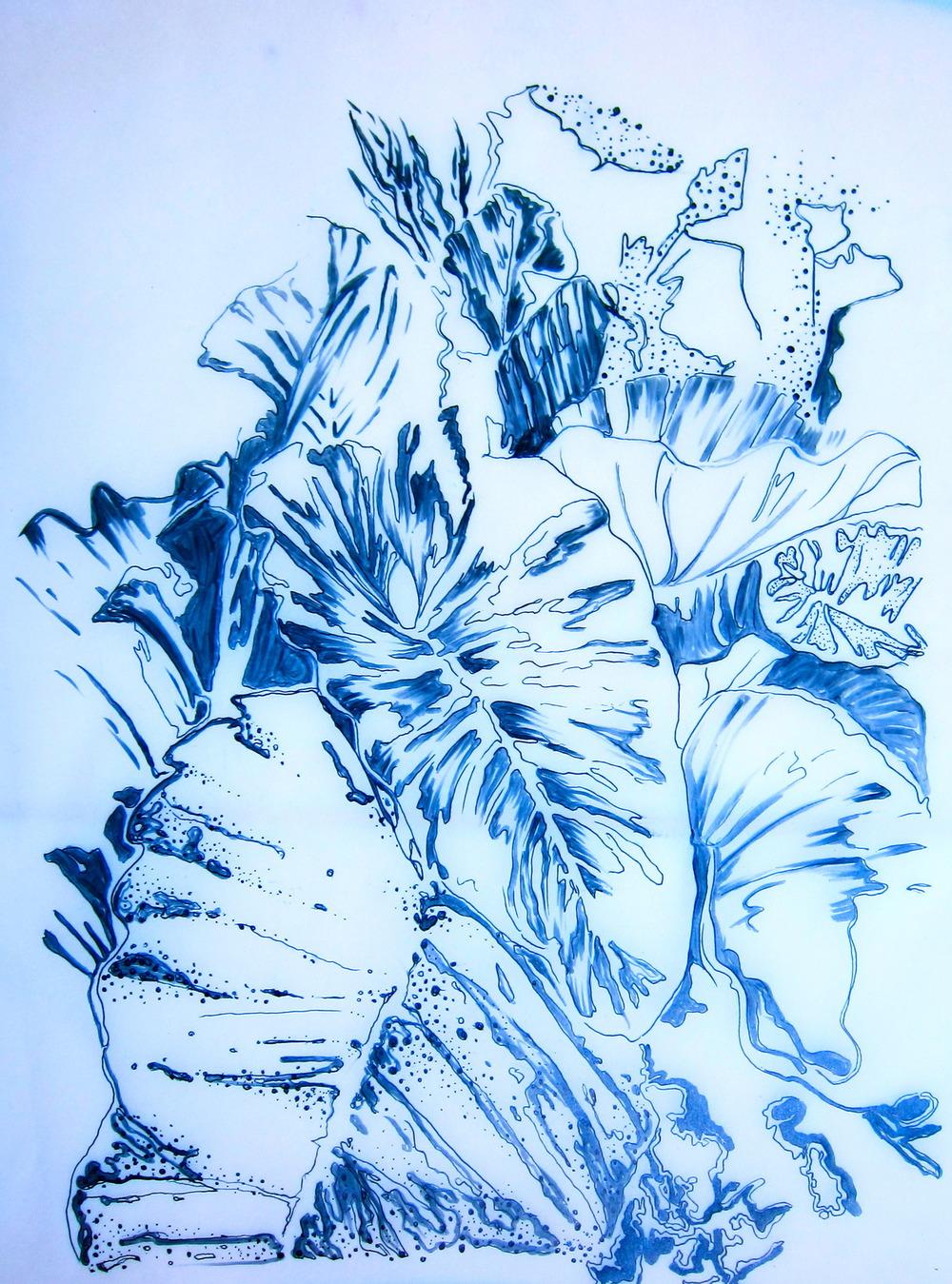"""Barbados Greens"" Series Ink on Paper"