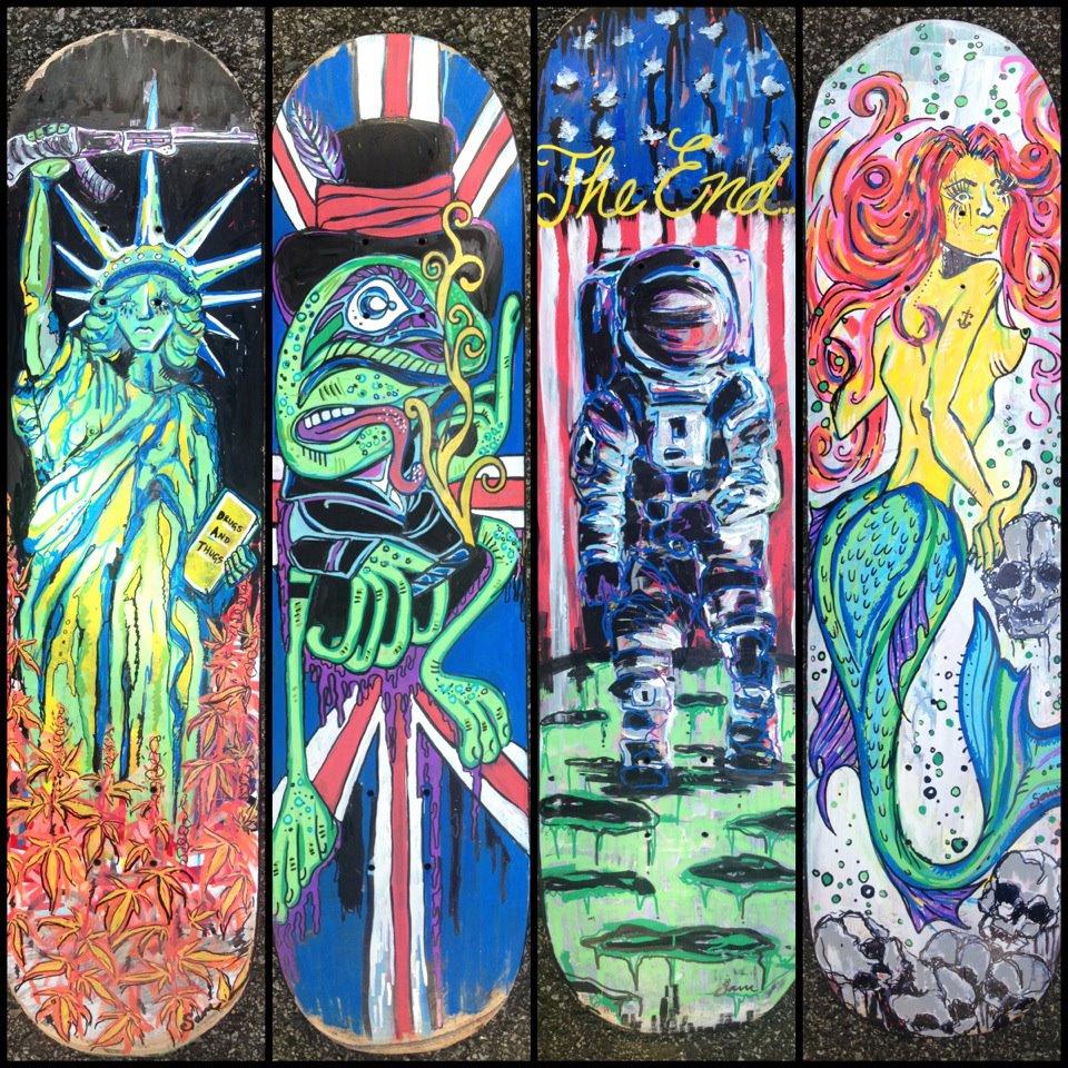 Various Skate Board Decks - Paint Pens on Skateboards ALL DECKS FOR SALE