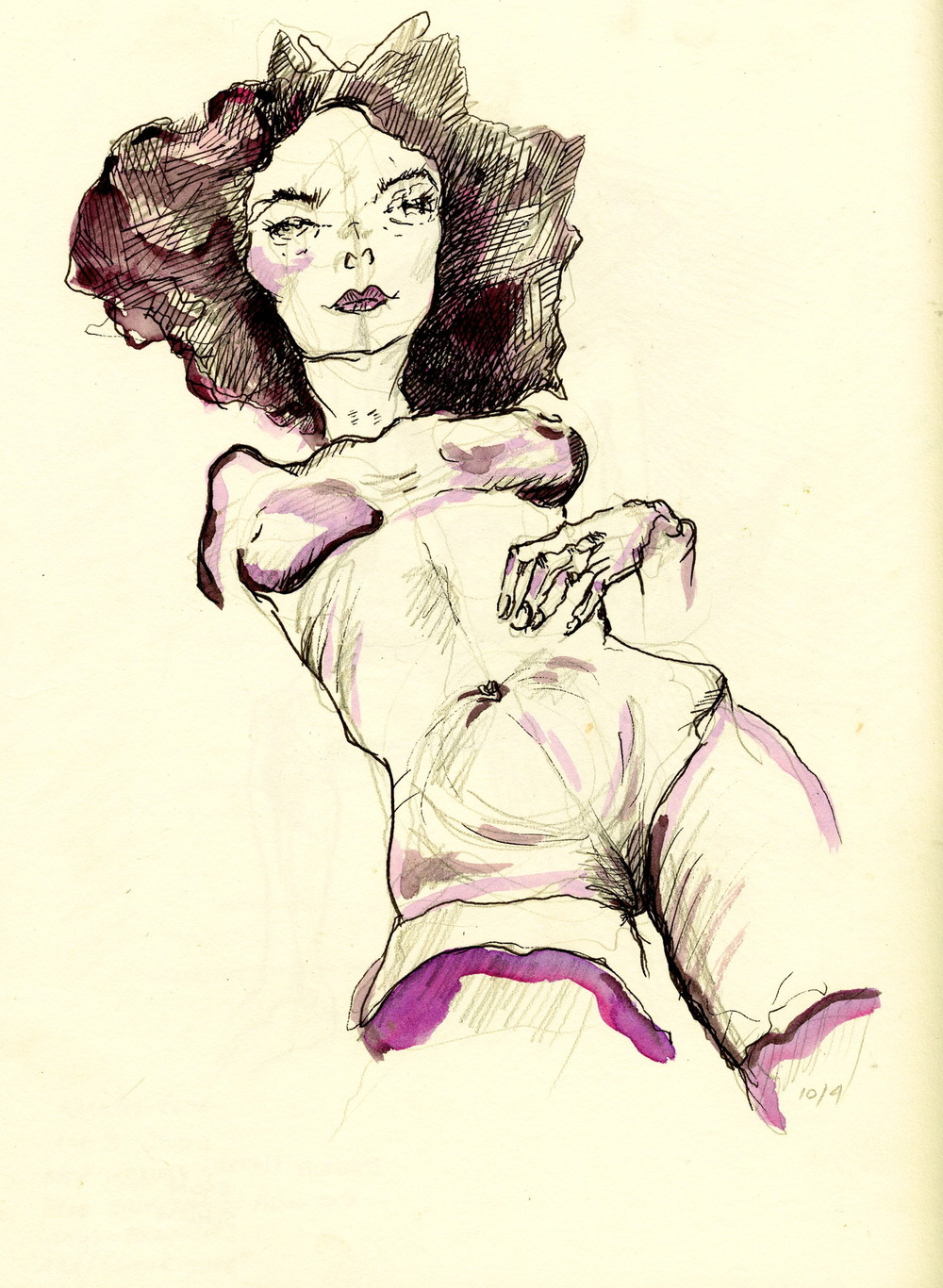 """Egon Schiele's Chick"" Ink & Watercolor on Paper FOR SALE"