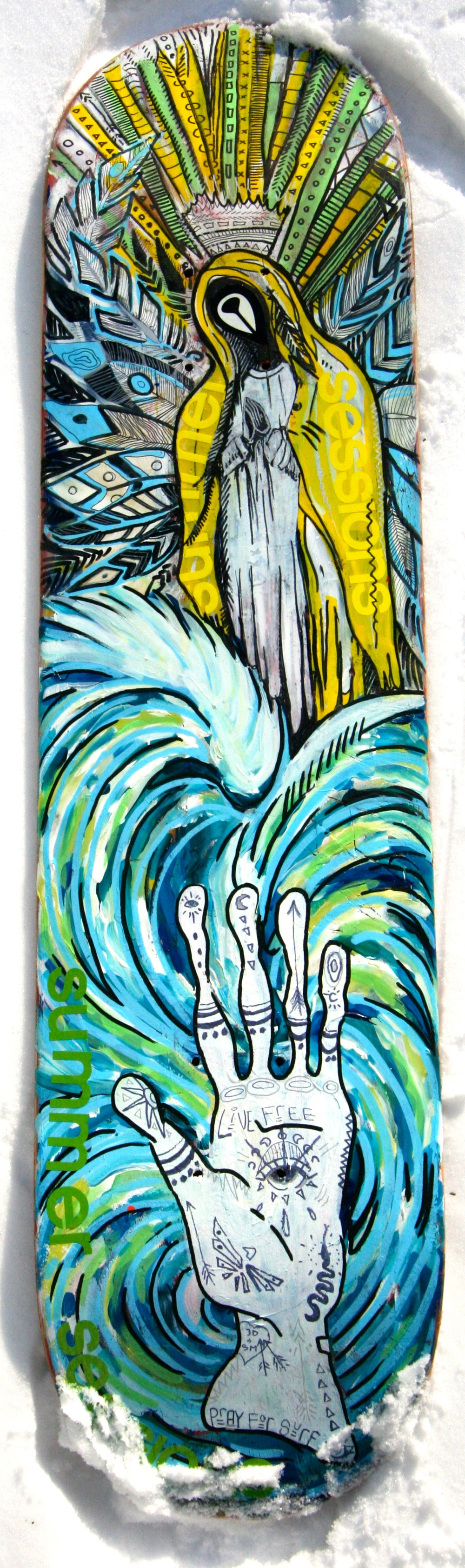 """Pray For Surf"" Paint Pens on Skateboard  SOLD"