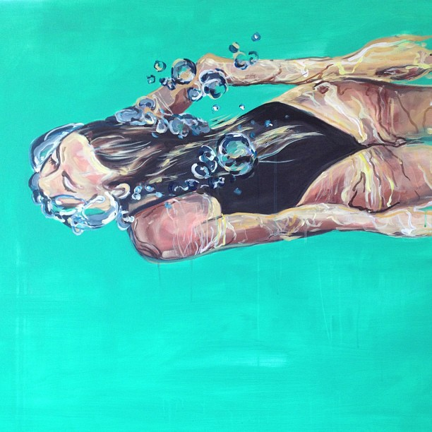 """The Swimmer"" 3x4 FT Acrylic on Canvas SOLD"
