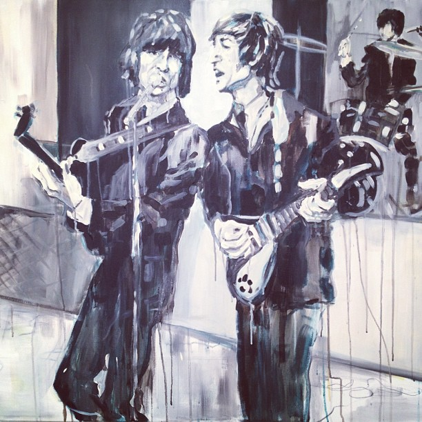 """Beatles"" Acrylic on Canvas 3x4 FT SOLD"