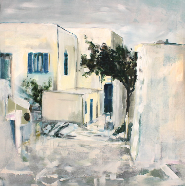 """Paros"" 3x3 FT Acrylic & Oil on Canvas SOLD"