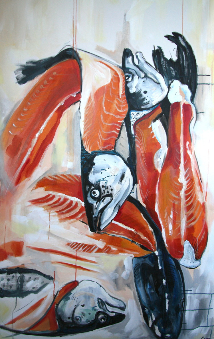 """Fish On"" 4x3 FT Acrylic on Canvas SOLD"