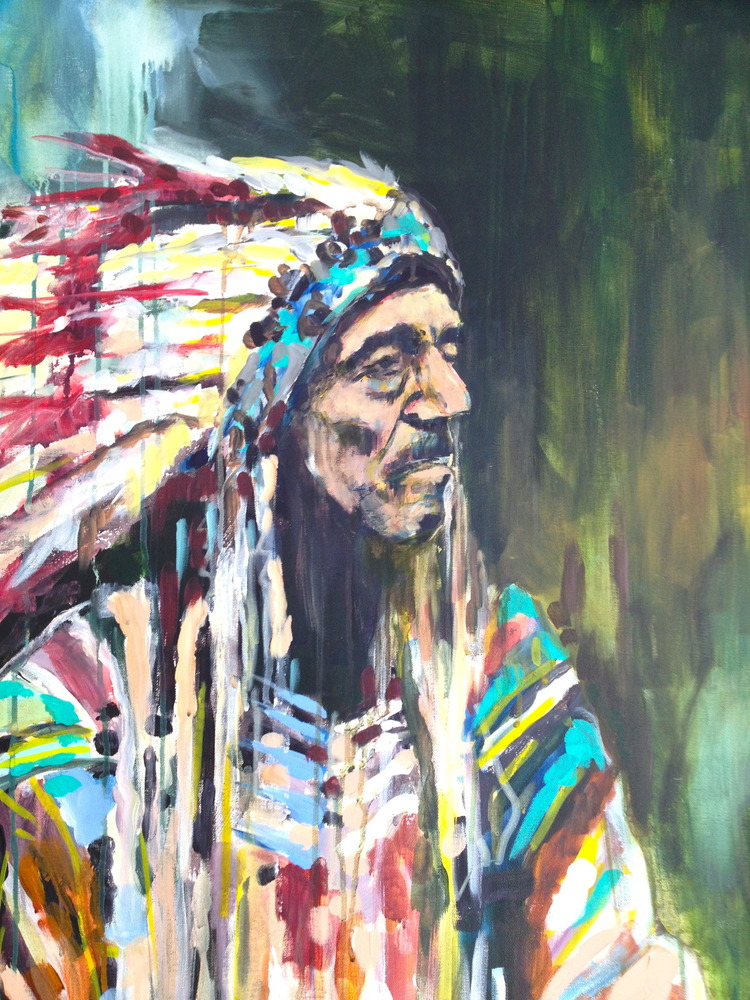 """Chief"" 4x3 FT Acrylic on Canvas SOLD"