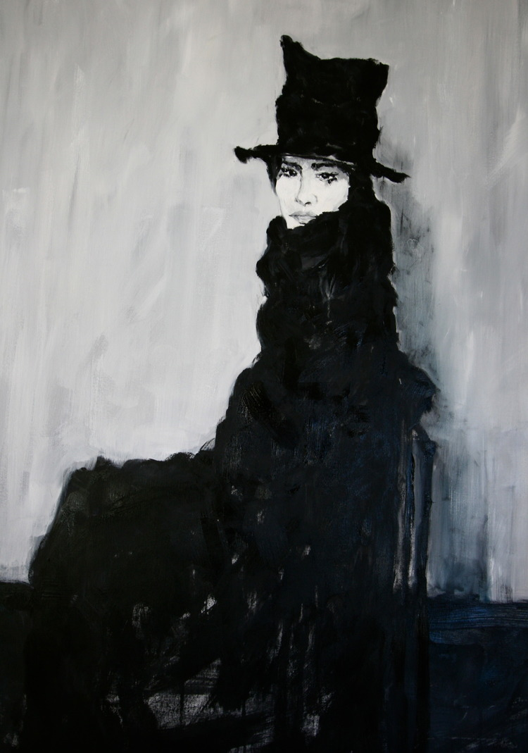 """Top Hat"" 4x3 FT Acrylic & Oil on Canvas SOLD"