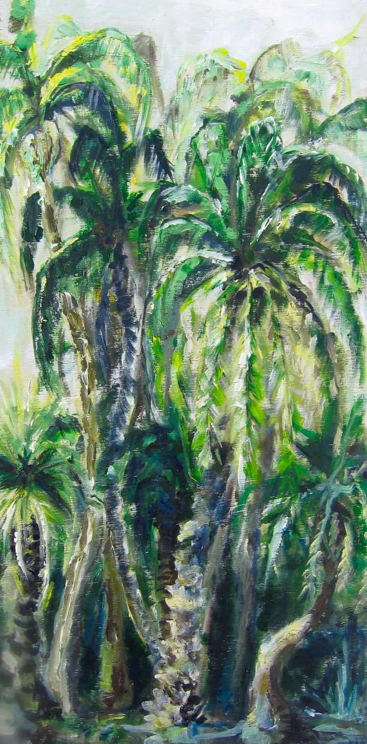 """Australian Palms"" 2X1 FT Oil on Wood SOLD"
