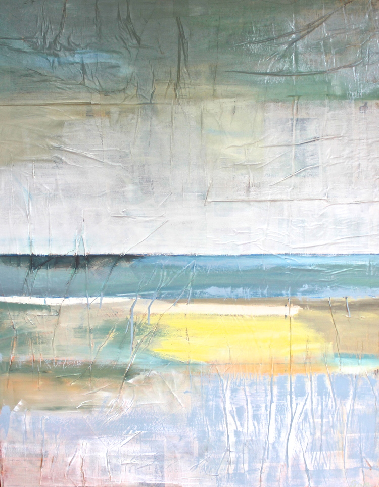 """Rye Beach, NH"" 5x3.5 FT Acrylic & Oil on News Paper on Canvas  SOLD"