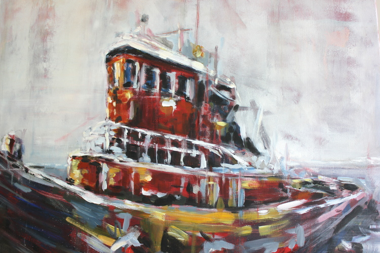 """Portsmouth Tugboat"" 3x3 FT Acrylic on Canvas  SOLD"