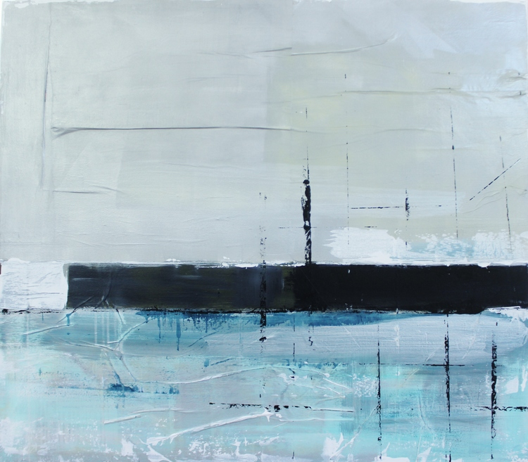 """Rye Harbor"" 4x4 FT Acrylic & Oil on Newspaper SOLD"
