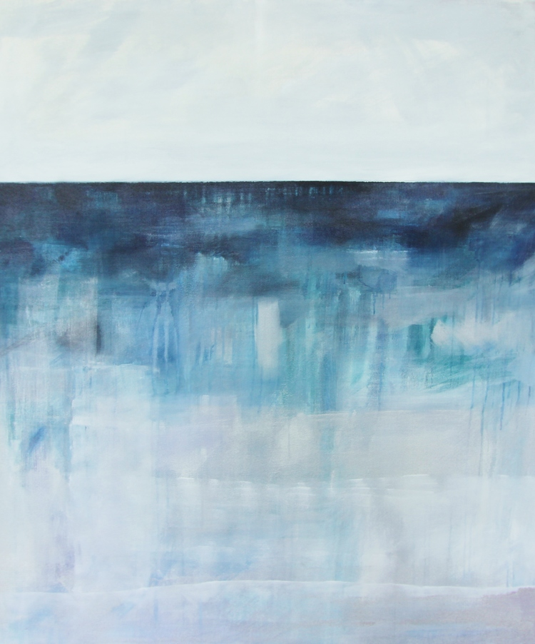 """Simple Seas / / Crisp Horizons"" 4x3 ft Acrylic on Canvas SOLD"