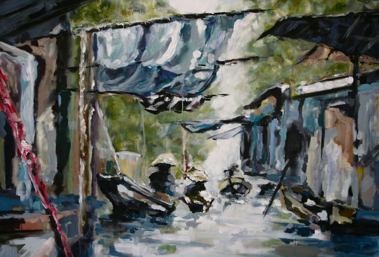 """Floating Markets""  3.5 x 5 FT Acrylic & Oil on Canvas  SOLD"