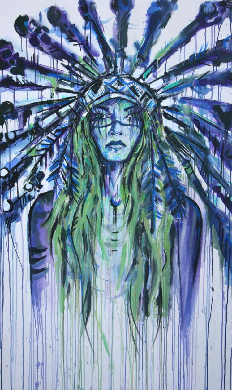 """Lady Chief""  4x3 FT Acrylic on Canvas  FOR SALE"