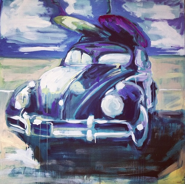 """Vintage Surf Bug"" 4x4 FT Acrylic & Oil on Canvas SOLD"