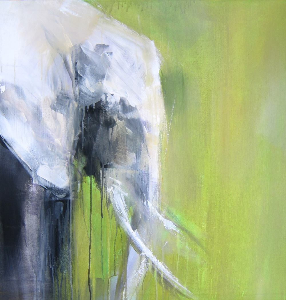 """Green Elephants I""  Acrylic on Canvas 2.5x2.5 FT SOLD"