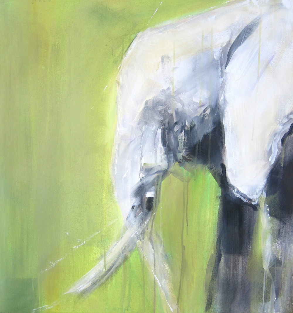 """Green Elephants II""  Acrylic on Canvas 2.5x2.5 FT SOLD"