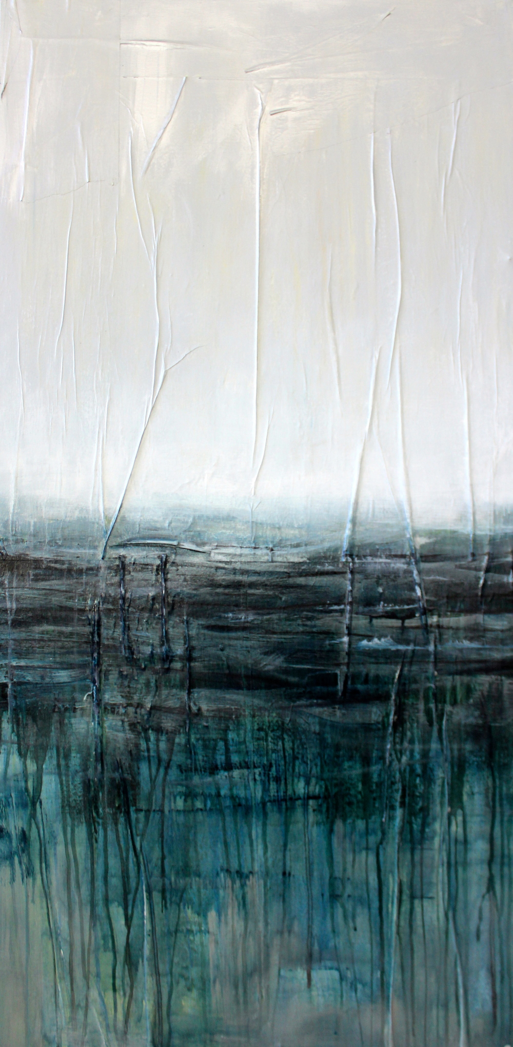 """Sea Legs"" Acrylic & Oil on Newspaper on Canvas 3x2.5 FT SOLD"
