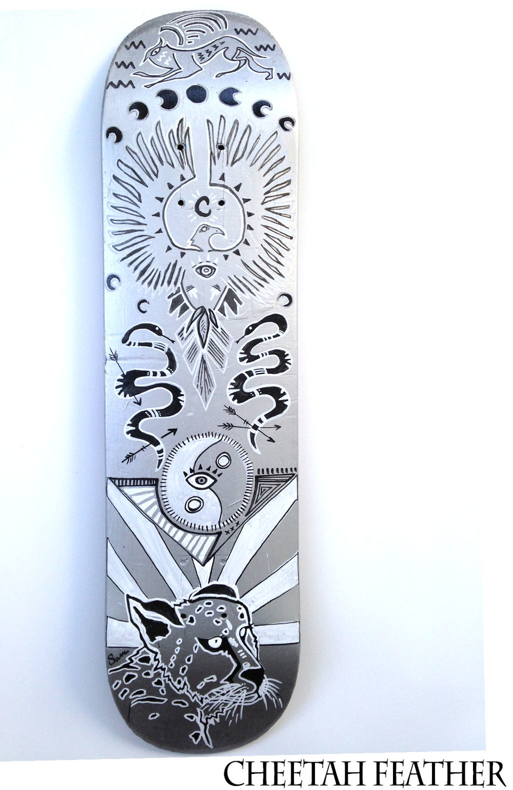 """Cheetah Feather"" Skate Deck FOR SALE"