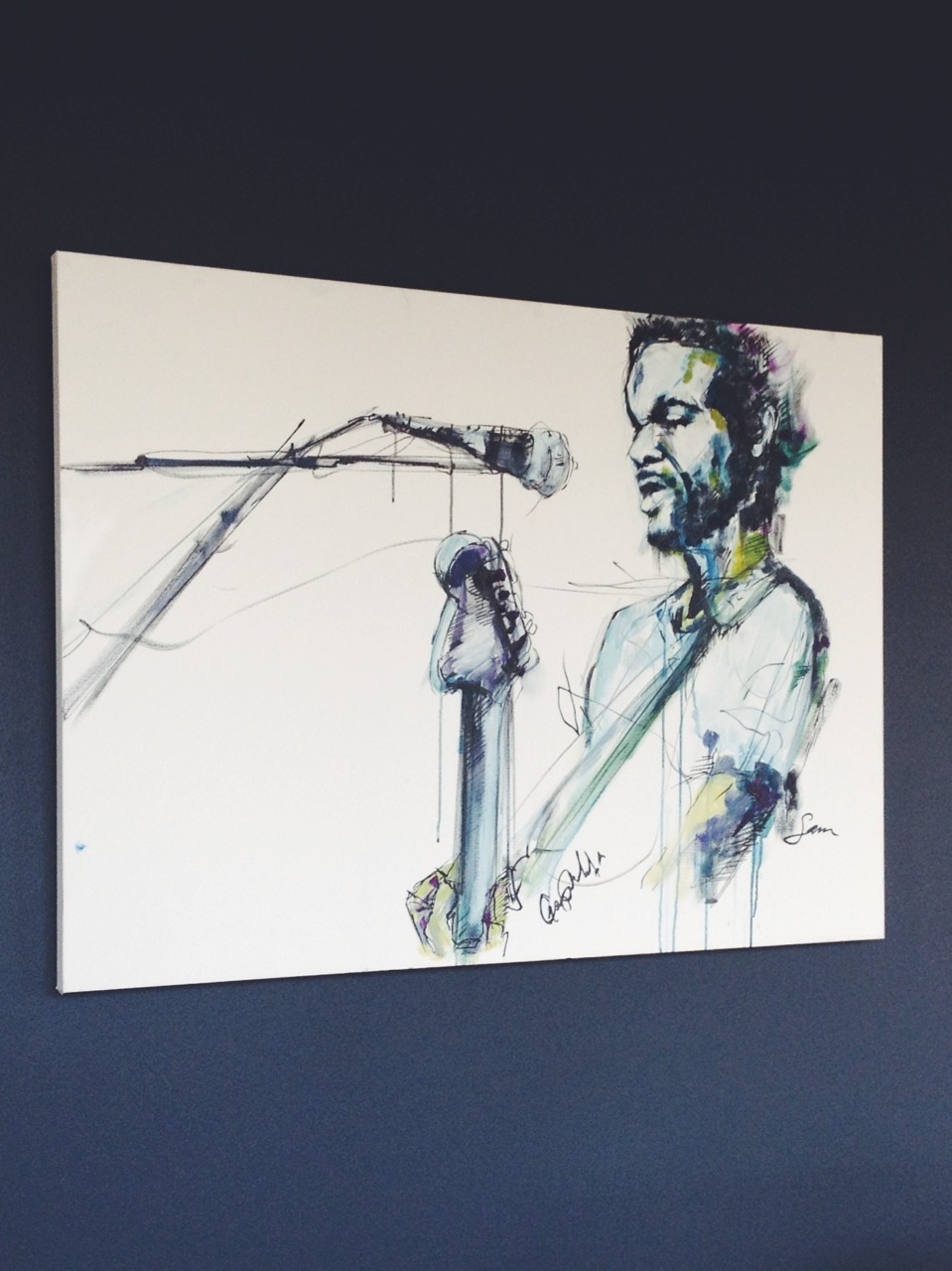 """Gary Clark Jr. Live"" 3x4.5 FT  Acrylic on Canvas  SOLD"