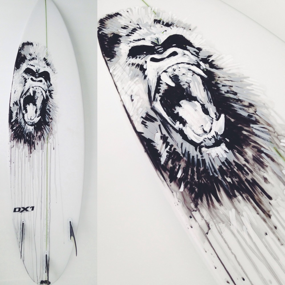"""Boosting Gorilla Gun"" Paint Pens on DHD Surfboard"