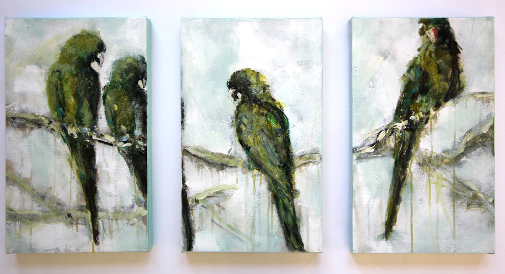"""Lime Feathers"" Series Acrylic & Oil on Canvas 20x12 IN  FOR SALE"