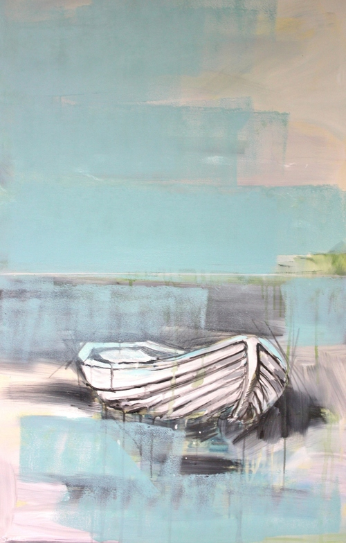 """Foggy Boat"" 3.5x2 FT Acrylic & Oil on Canvas     $2,200"