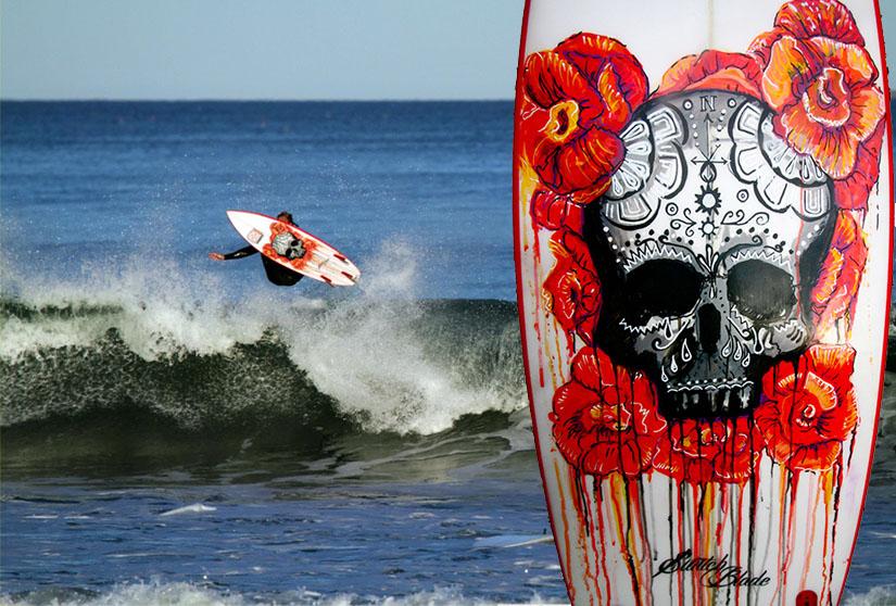 """Bleeding Floras"" Custom Surfboard Design"