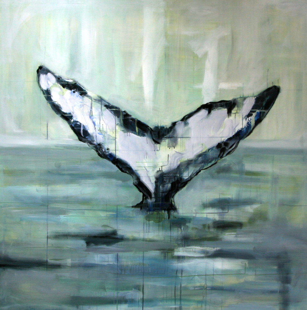 """Whale"" Detail 48x48 IN Acrylic & Oil on Canvas"