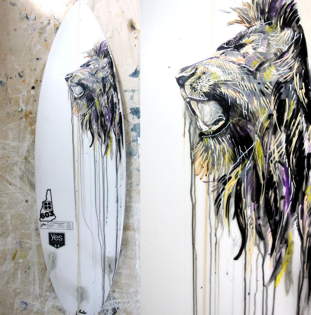 "Custom Surfboard Designs ""Irie Lions"""