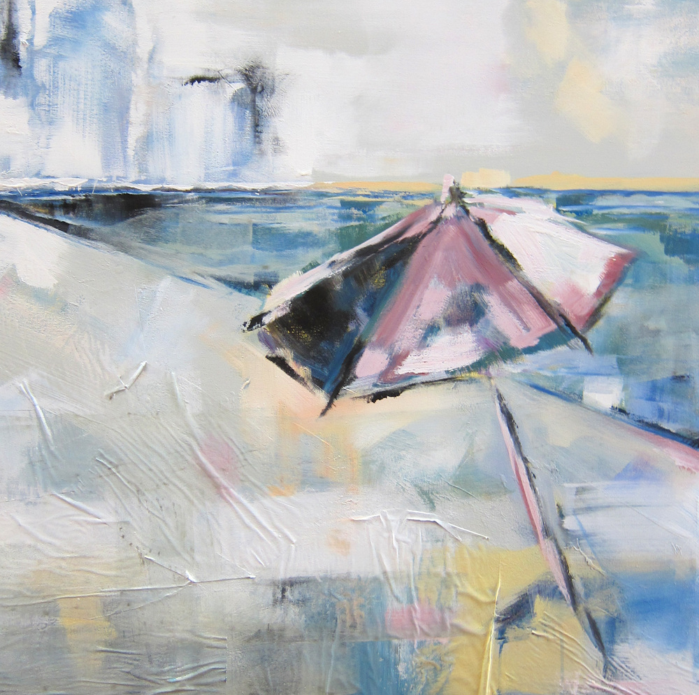 """Sawyers Beach Breeze"" Acrylic & Oil on Newspaper on Canvas 36x36 IN  $1,800"
