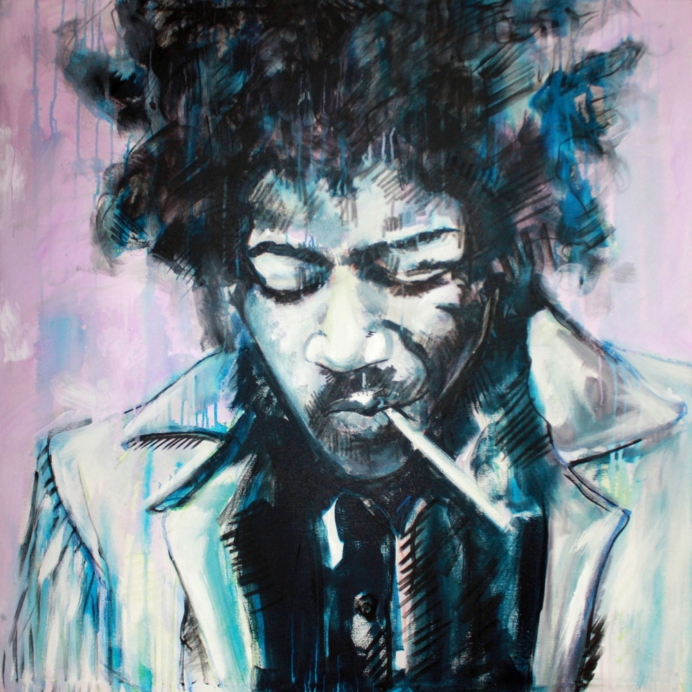 """JIMI"" Acrylic on Canvas 49x49 IN   FOR SALE VIA:  http://www.art-mine.com/artistpage/samantha_malpass.aspx"