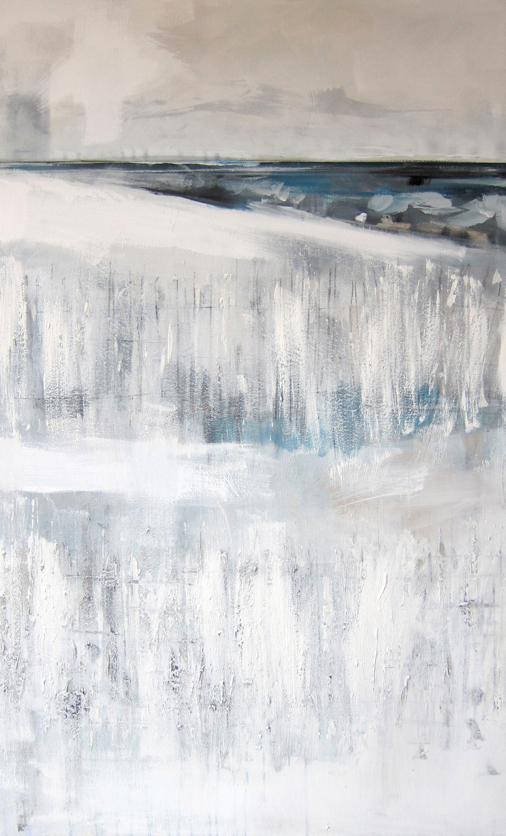 """Winter White"" Acrylic & Oil on Canvas 51X30 IN"