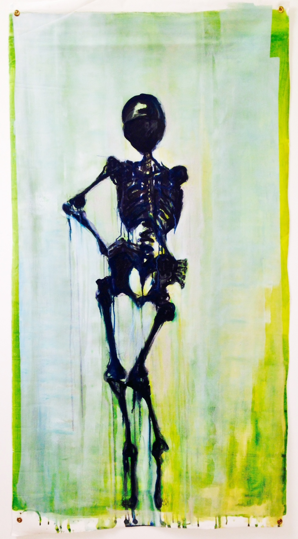 """Skully Groove Scroll"" Acrylic on Canvas Scroll 62X33 IN"