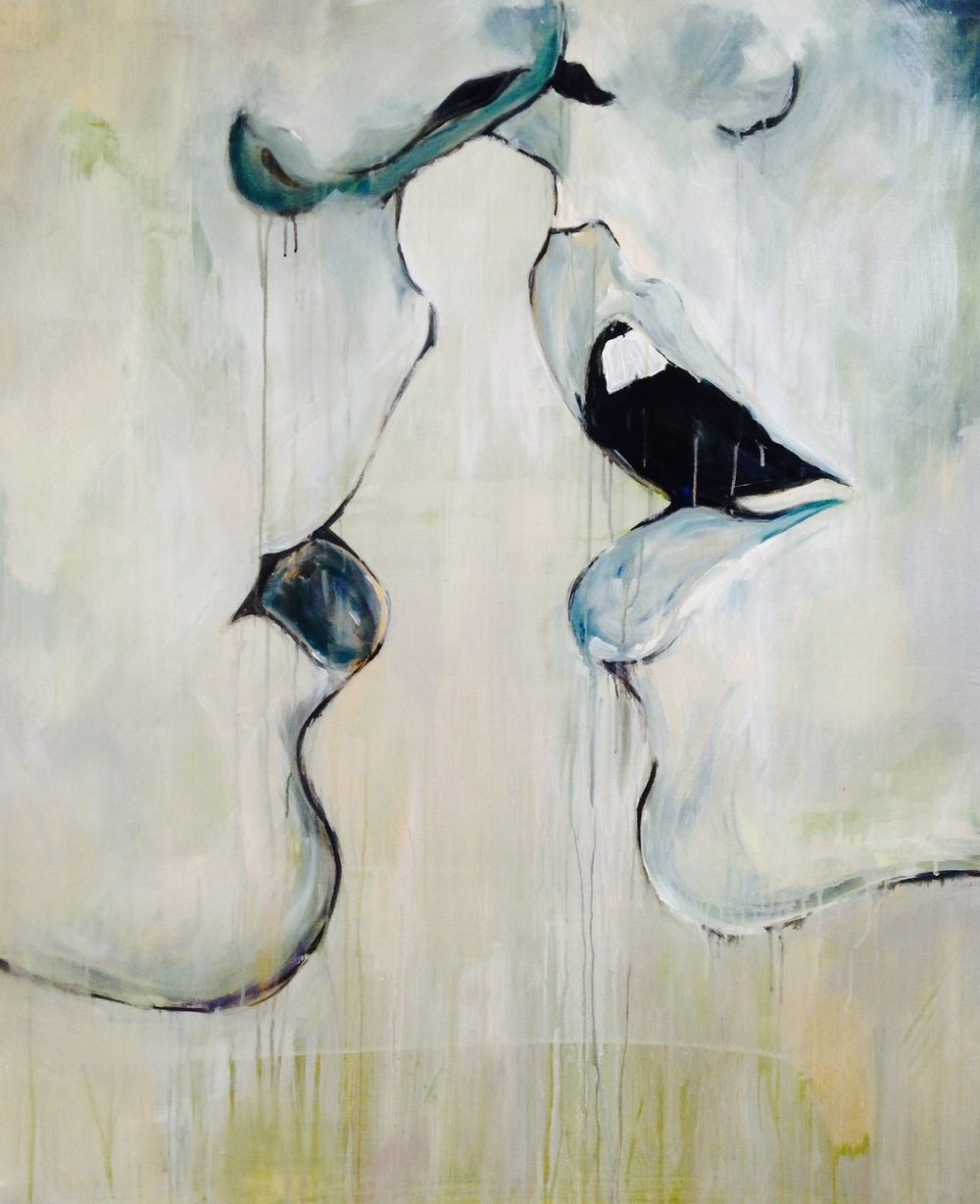"""The Kiss"" Acrylic on Canvas 48X36 IN  $2,500"