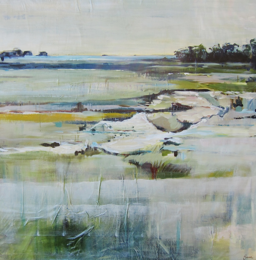 """Rye Harbor Marsh"" 60X60 IN Acrylic on Newspaper on Canvas"