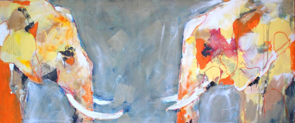 """Orange Trunks"" 36X60 IN Acrylic & Oil on Canvas"