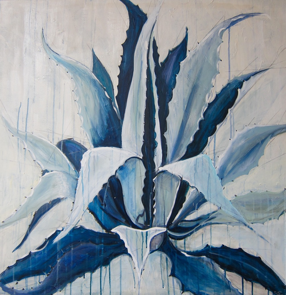 """Blue Agave"" Acrylic on Canvas 36X36 IN   $2,600"