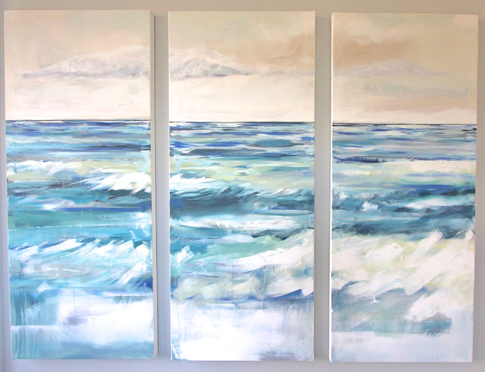 """ Turquoise Tides""  Acrylic on Canvas 58X24 IN Each  SOLD"