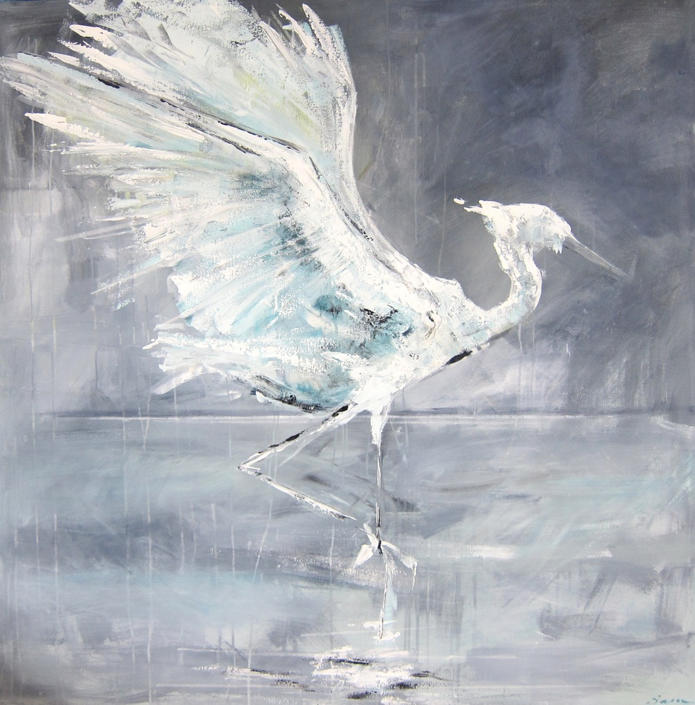 """Blue Heron"" Acrylic & Oil on Canvas 48X48 IN  $2,500"