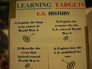 Learning targets from a lesson on U.S. history. Source: Mary Wolf