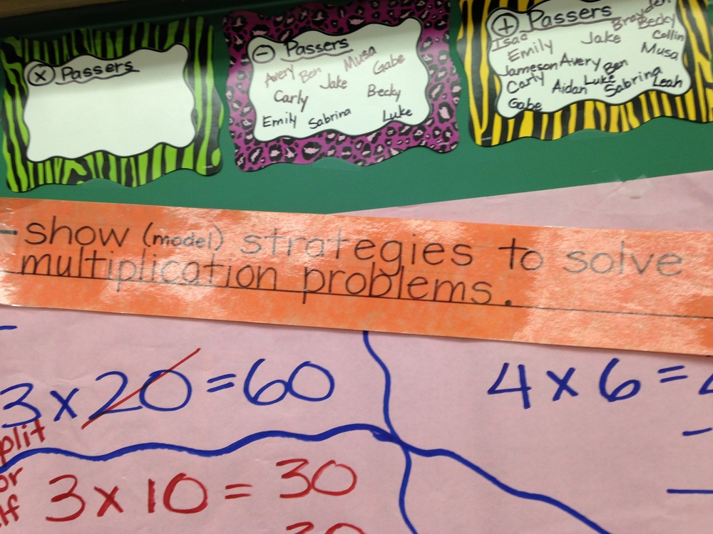 Just one of the ways the students track their progress on specific learning targets.
