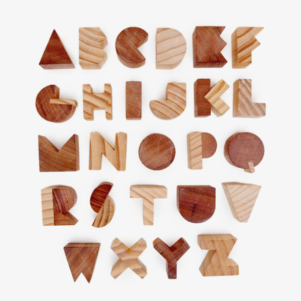 modern wooden alphabet, source unknown