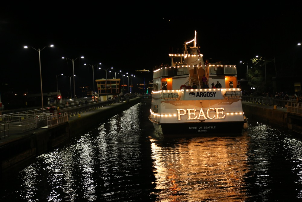 most of the parade boats were sailboats which had christmas lights strung over their lines being out on the water surrounded by lights and music felt like