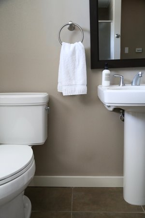 Lovely bathroom and amenities at San Juan Island's Bird Rock Hotel  Lisette Wolter-McKinley