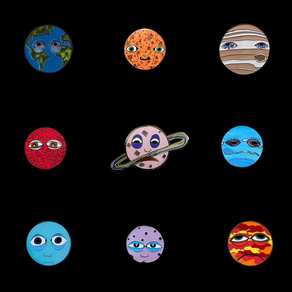 All Nine Sad Planet Enamel Pins   $75 (including shipping)